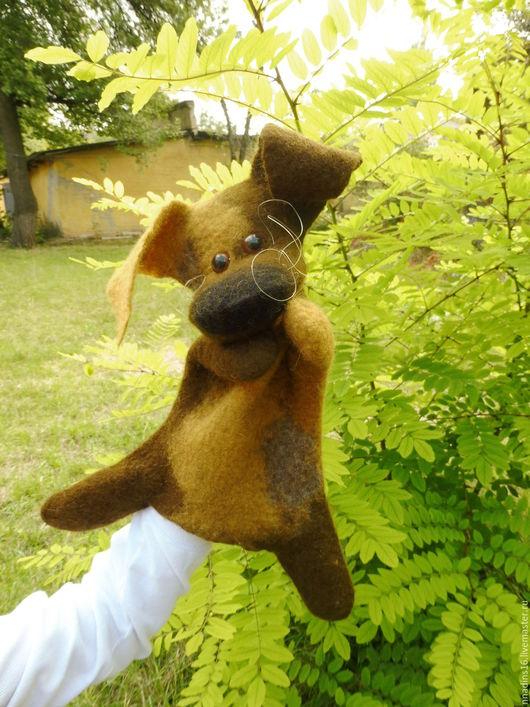 Кукольный театр ручной работы. Ярмарка Мастеров - ручная работа. Купить Игрушка щенок Бублик, игрушка бибабо (BIBABO). Handmade.