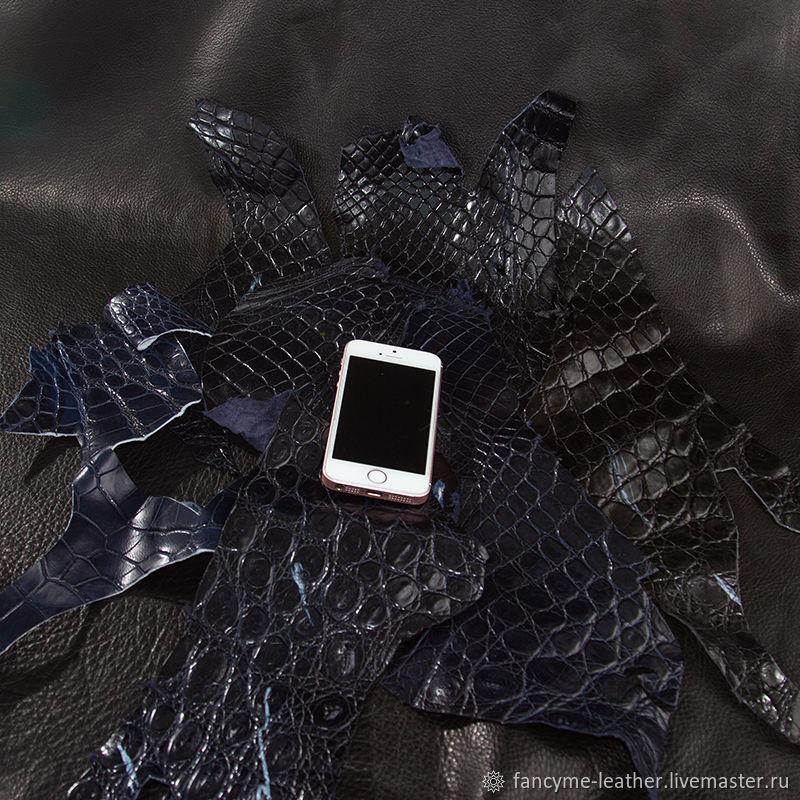 Кожа крокодила лоскут синий мелкий, Кожа, Москва,  Фото №1