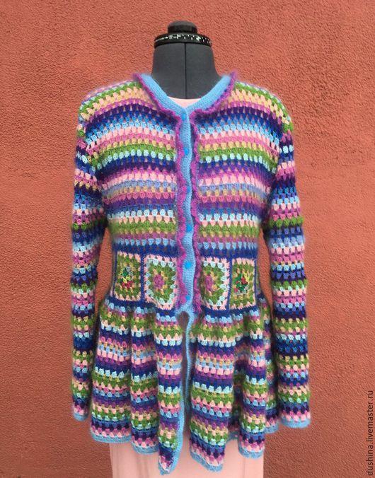 """Пиджаки, жакеты ручной работы. Ярмарка Мастеров - ручная работа. Купить Жакет вязанный """"Радость"""". Handmade. Комбинированный, шерсть 100%"""