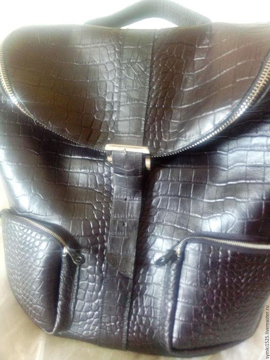 """Рюкзаки ручной работы. Ярмарка Мастеров - ручная работа. Купить Рюкзак кожаный,мужской """"Рептилия""""бронь.. Handmade. Черный, подарок мужчине"""
