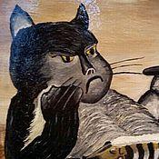 """Картины и панно ручной работы. Ярмарка Мастеров - ручная работа Картина маслом """"Кот с бутылкой"""". Handmade."""
