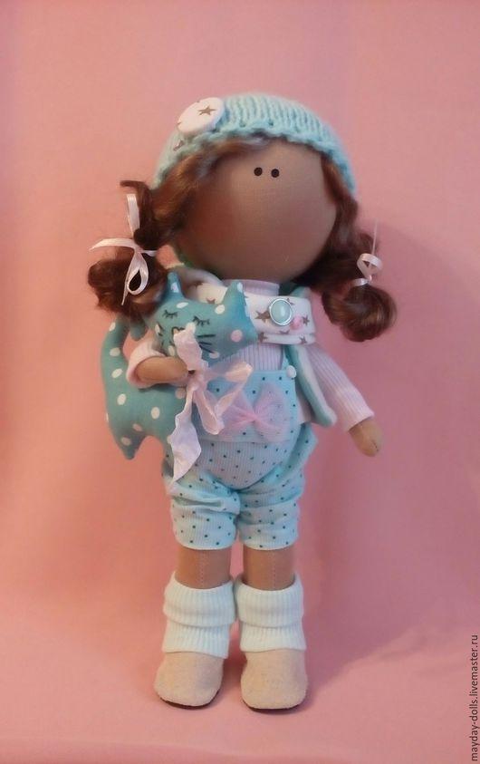 Куклы тыквоголовки ручной работы. Ярмарка Мастеров - ручная работа. Купить Интерьерная текстильная кукла большеножка Анютка. Handmade. Бирюзовый