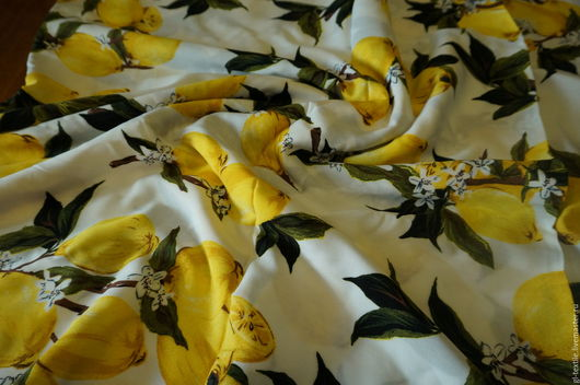 """Шитье ручной работы. Ярмарка Мастеров - ручная работа. Купить Штапель """"Лимоны"""" Шир. 150см. Handmade. Комбинированный, штапель"""