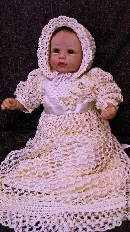 крещение, платье для крещения, платье для девочки, вязанное платье, шапочка для новорожденного шапочка из хлопка,