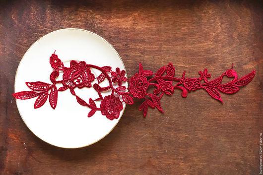 Шитье ручной работы. Ярмарка Мастеров - ручная работа. Купить Цветочное кружево, аппликация, вышивка, бордовый. Handmade. Бордовый