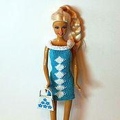 Куклы и игрушки ручной работы. Ярмарка Мастеров - ручная работа Голубое вязаное платье для кукол. Handmade.
