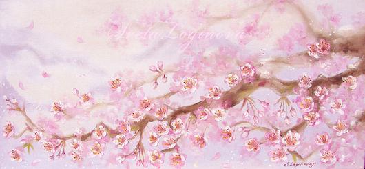 Пейзаж ручной работы. Ярмарка Мастеров - ручная работа. Купить Цветущая ветка вишни.... Handmade. Бледно-розовый, картина в подарок