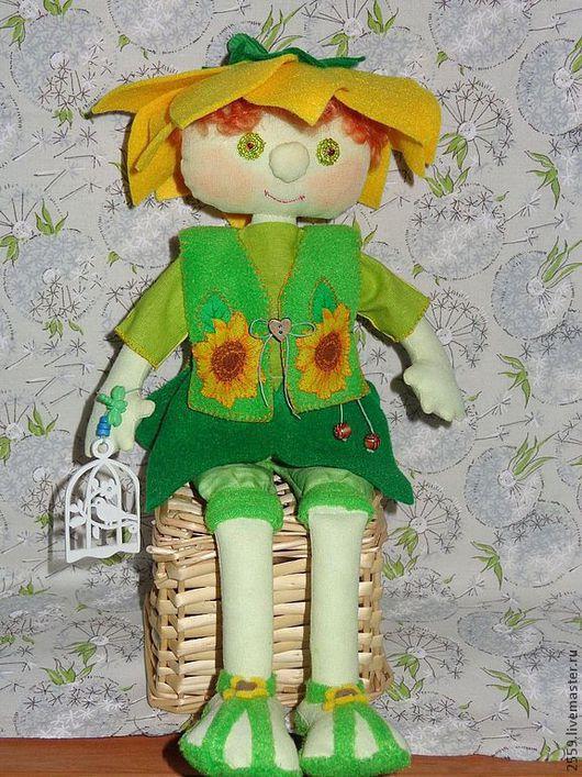 Коллекционные куклы ручной работы. Ярмарка Мастеров - ручная работа. Купить Подсолнушек. Handmade. Дом, хлопок, синтепух