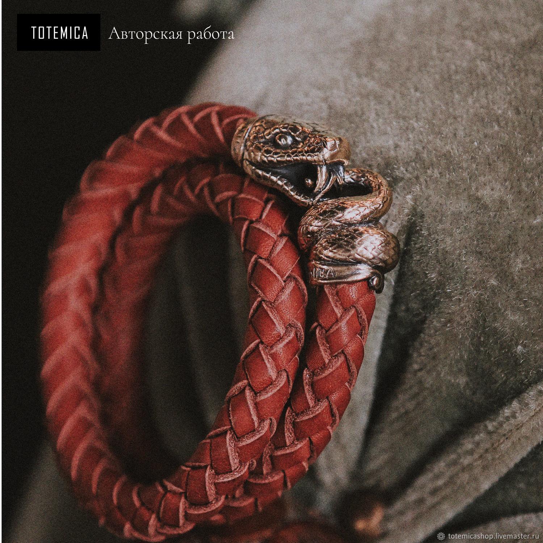 Бронзовый браслет Змея, кожа, Браслет плетеный, Москва,  Фото №1