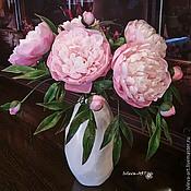 Цветы и флористика ручной работы. Ярмарка Мастеров - ручная работа букет Пионы в белой вазе. Handmade.