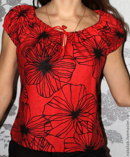 """Блузки ручной работы. Ярмарка Мастеров - ручная работа. Купить Льняная блузка """"Маки"""". Handmade. Ярко-красный, блуза"""