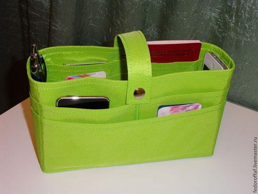 """Органайзеры для сумок ручной работы. Ярмарка Мастеров - ручная работа. Купить Органайзер для сумки большой """"Салатовый"""". Handmade. Салатовый, женская сумка"""