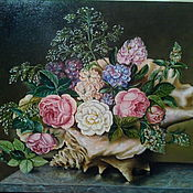 Картины ручной работы. Ярмарка Мастеров - ручная работа Картина маслом на холсте Розы в раковине 60х50 см. Handmade.
