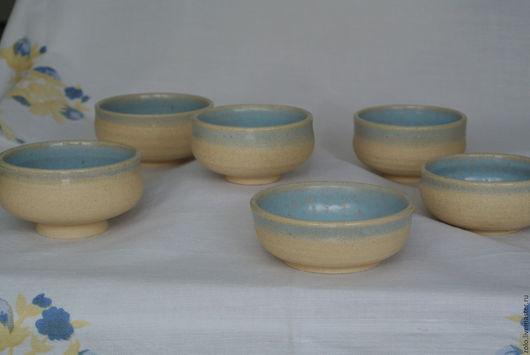 Пиалы ручной работы. Ярмарка Мастеров - ручная работа. Купить Пиалы керамика шамот. Handmade. Голубой, кремовый, гончарная посуда