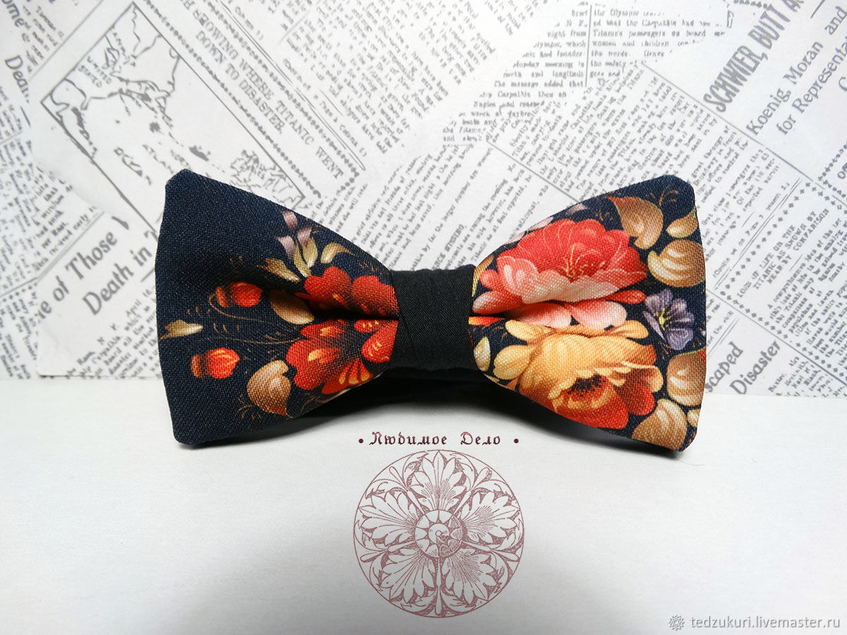 Bow tie Khokhloma/ Russian/ national/ pattern Hohloma, Butterflies, Rostov-on-Don,  Фото №1