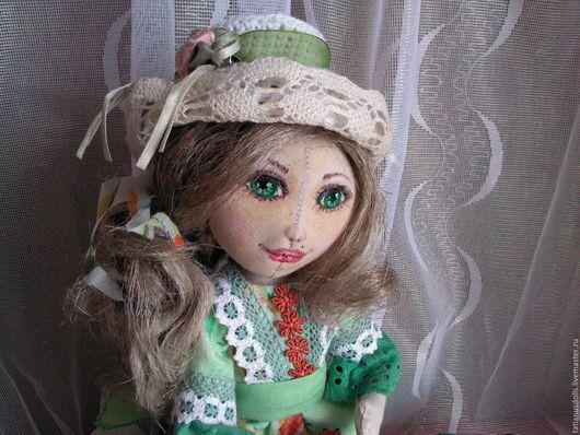 Коллекционные куклы ручной работы. Ярмарка Мастеров - ручная работа. Купить Александрина. Кукла текстильная.. Handmade. Зеленый, хлопок