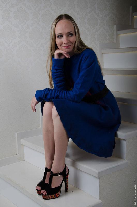 """Платья ручной работы. Ярмарка Мастеров - ручная работа. Купить Валяное платье """"Сапфировые ночи"""". Handmade. Тёмно-синий"""