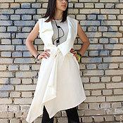 Одежда ручной работы. Ярмарка Мастеров - ручная работа Ассиметричный жилет - белый   V0005. Handmade.