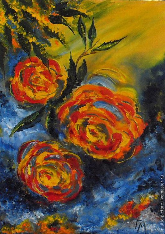 """Картины цветов ручной работы. Ярмарка Мастеров - ручная работа. Купить """"Солнечные розы"""". Handmade. Разноцветный, подарок девушке"""