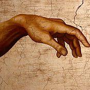 """Картины и панно ручной работы. Ярмарка Мастеров - ручная работа """" Сотворение Адама """" (копия).. Handmade."""