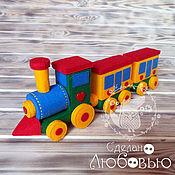 """Куклы и игрушки ручной работы. Ярмарка Мастеров - ручная работа """"Паровозик из Любашкино"""" с вагонами из фетра. Handmade."""