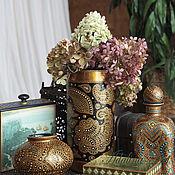 Для дома и интерьера ручной работы. Ярмарка Мастеров - ручная работа Ваза ЗОЛОТОЙ ПЕЙСЛИ ваза для цветов Точечная роспись. Handmade.