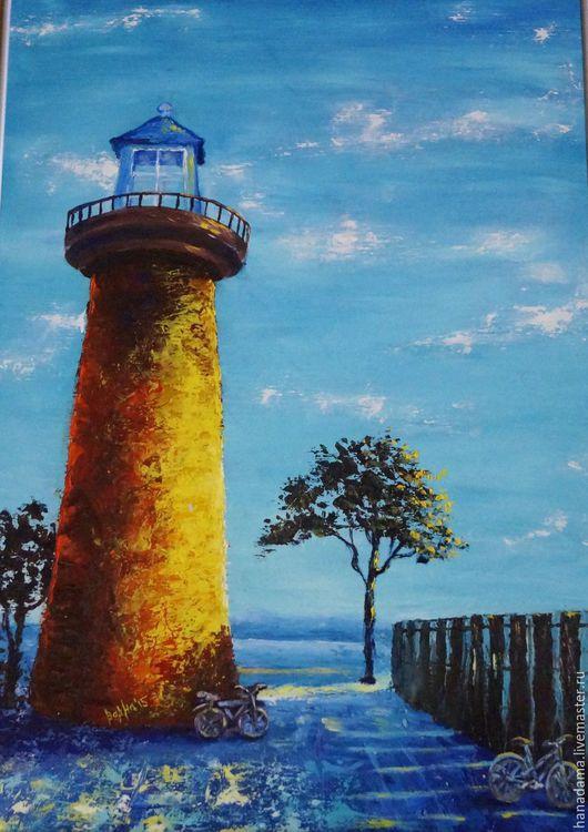 """Пейзаж ручной работы. Ярмарка Мастеров - ручная работа. Купить Интерьерная картина """"Маяк"""". Handmade. Голубой, море, масло, кисть"""