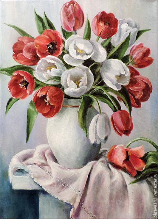 Натюрморт ручной работы. Ярмарка Мастеров - ручная работа. Купить Красные и белые. Handmade. Тюльпаны, букет тюльпанов, картина