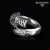 Украшения handmade. Livemaster - original item Ring sword with a dragon from silver 925 dimensionless unisex. Handmade.