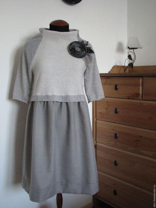 """Платья ручной работы. Ярмарка Мастеров - ручная работа. Купить Платье """"Морозное утро"""". Handmade. Серый, платье на каждый день"""