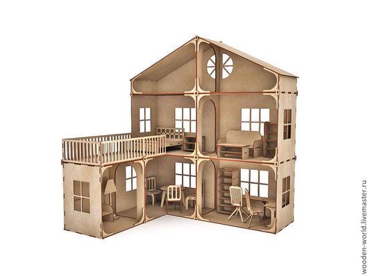 Декупаж и роспись ручной работы. Ярмарка Мастеров - ручная работа. Купить Модульный Кукольный домик с балконом (без мебели). Handmade.