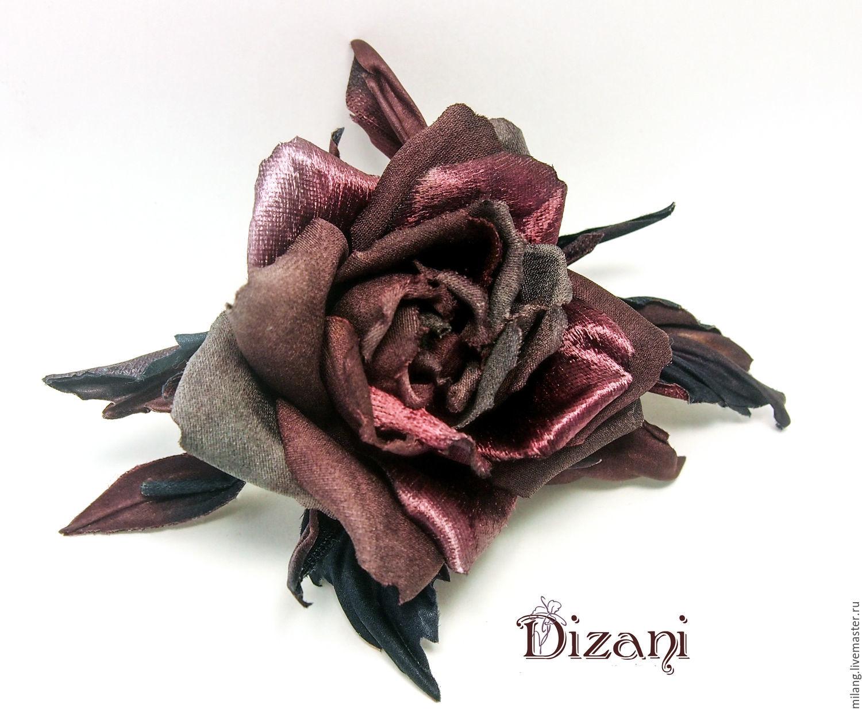 Rose brooch ' Silva'. Silk flowers,cloth flowers, Flowers, Moscow,  Фото №1