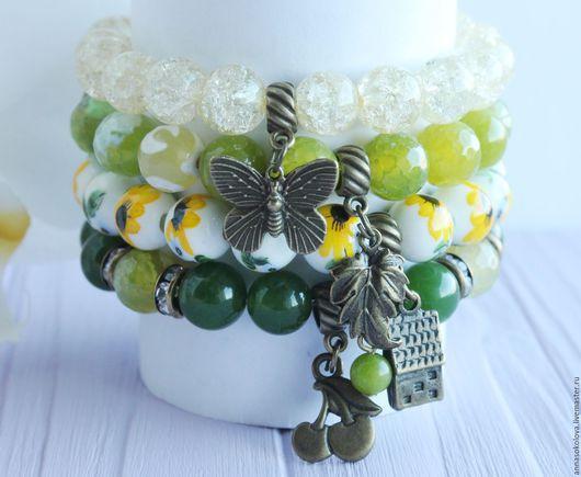 """Браслеты ручной работы. Ярмарка Мастеров - ручная работа. Купить Комплект браслетов """"Дача"""". Handmade. Зеленый, подарок женщине"""