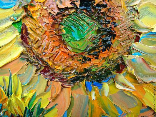 Пейзаж ручной работы. Ярмарка Мастеров - ручная работа. Купить Картина маслом Солнце в лепестках. Handmade. Подсолнухи, зеленый, небо