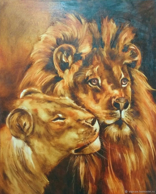 Мы вместе! Большая картина маслом со львами любовь, Картины, Калининград,  Фото №1