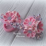 Работы для детей, handmade. Livemaster - original item Scrunchy soft Bouquet with lace in the technique of kanzashi. Handmade.