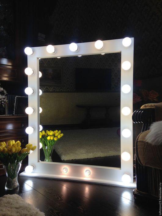 Зеркала ручной работы. Ярмарка Мастеров - ручная работа. Купить Гримерное зеркало FANTOM.. Handmade. Белый, зеркало гримера, сосна