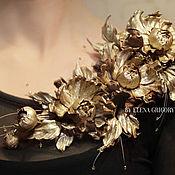 """Украшения ручной работы. Ярмарка Мастеров - ручная работа Цветы из кожи. Ветка из роз """"Golden Queen"""". Handmade."""