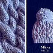 Аксессуары handmade. Livemaster - original item Set knitted Lilac Mist, knitted hat, knitted scarf.. Handmade.
