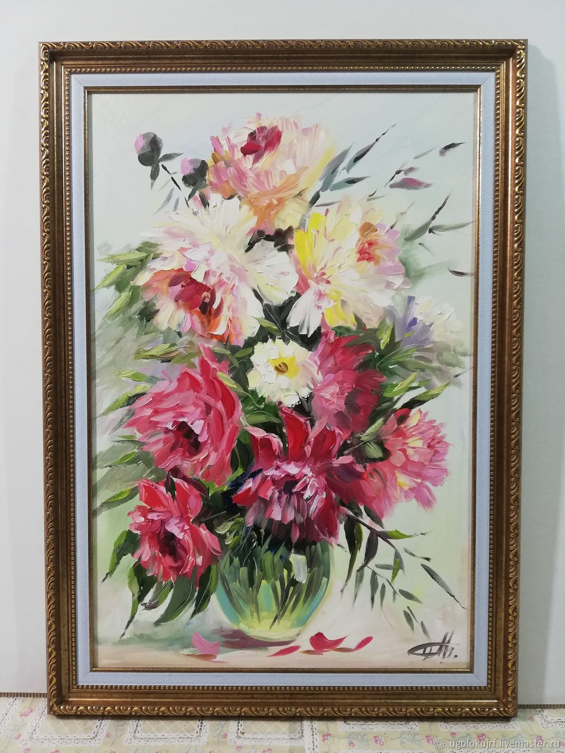 Oil painting of Peonies, in a baguette 70h50cm, Pictures, Maloyaroslavets,  Фото №1