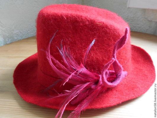 Шляпы ручной работы. Ярмарка Мастеров - ручная работа. Купить Модель № 21. Handmade. Ярко-красный, Валяние