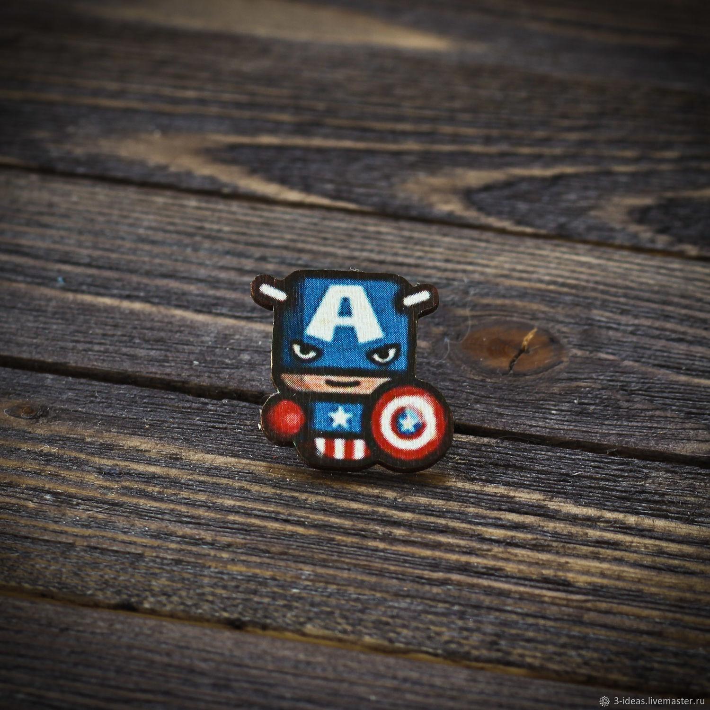 Wooden icon Captain America, Badge, Volzhsky,  Фото №1