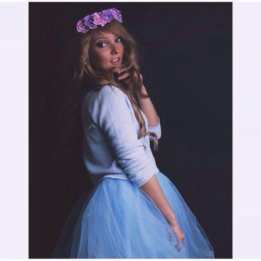 Юбки ручной работы. Ярмарка Мастеров - ручная работа. Купить Голубая фатиновая юбка. Handmade. Голубой, шопенка, шелкфатин
