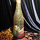 """Подарочное оформление бутылок ручной работы. Ярмарка Мастеров - ручная работа. Купить Бутылка шампанского """"Дед Мороз на тройке"""". Handmade."""