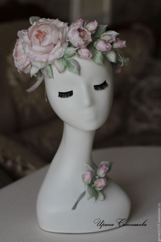 """Цветы ручной работы. Ярмарка Мастеров - ручная работа. Купить Свадебный комплект """"Розовая дымка"""". Венок и бутоньерка.. Handmade."""