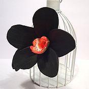 Украшения handmade. Livemaster - original item Orchid, black. Barrette, brooch made from polymer clay with a flower.. Handmade.