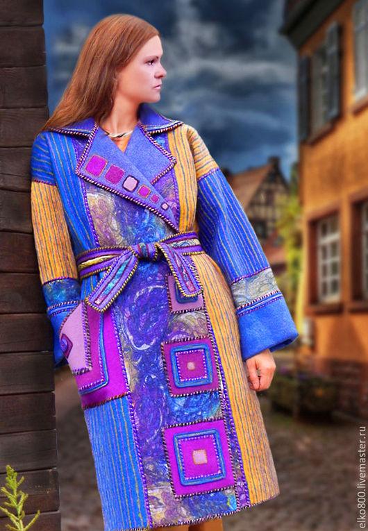 """Верхняя одежда ручной работы. Ярмарка Мастеров - ручная работа. Купить Пальто """"Дежа вю Ультра"""". Handmade. Бохо, синий"""