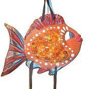 Для дома и интерьера ручной работы. Ярмарка Мастеров - ручная работа Рыба Красотка керамика янтарь панно для интерьера морской декор детям. Handmade.