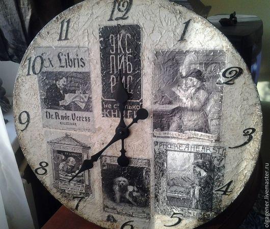 Часы для дома ручной работы. Ярмарка Мастеров - ручная работа. Купить Часы деревянные 40 см настенные_Экслибрисы W0320. Handmade.