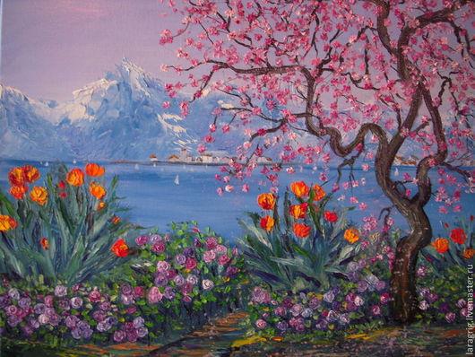 """Картины цветов ручной работы. Ярмарка Мастеров - ручная работа. Купить """"Весна""""-авторская работа Ларисы Григ. Handmade. Разноцветный"""